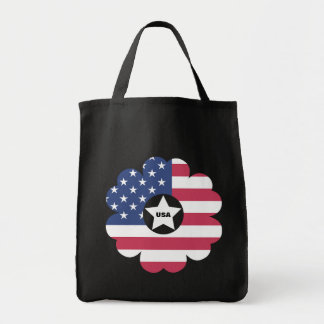 American Flag Star Heart Flower Wreath Tote Bag