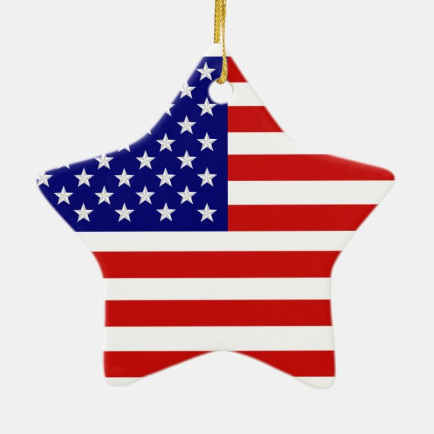 American Flag Star Shape Christmas Ornament | Zazzle.com