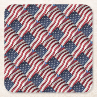 American Flag,Star Spangled Banner red white blue Square Paper Coaster