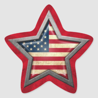 American Flag Star with Rays of Light Star Sticker