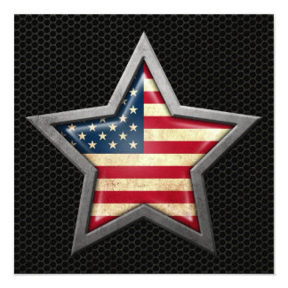 American Flag Star with Steel Mesh Effect Card