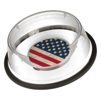American Flag Stars and Stripes Acrylic Pet Bowl