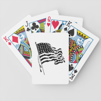 American Flag, Stars and Stripes in black & white Bicycle Playing Cards