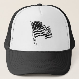 American Flag, Stars and Stripes in black & white Trucker Hat