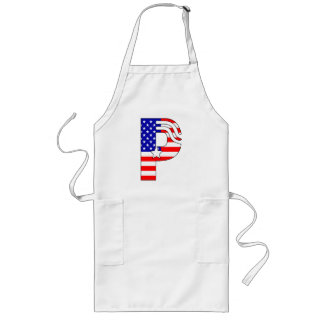 American flag, stars and stripes monogram P Long Apron