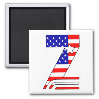 American flag, stars and stripes monogram Z 2 Inch Square Magnet