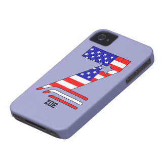 American flag, stars and stripes monogram Z, name Case-Mate iPhone 4 Cases