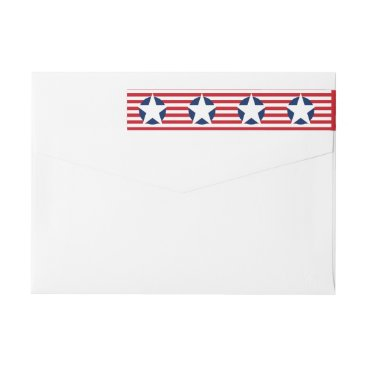 USA Themed American Flag Stars and Stripes Patriotic Wrap Around Label