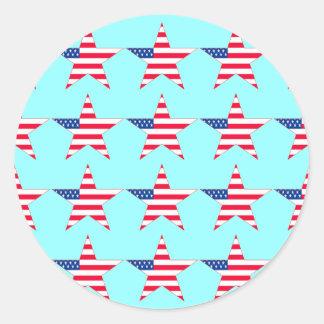 American Flag Stars Classic Round Sticker