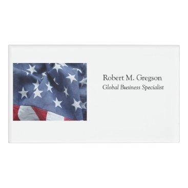 American flag stars name tag