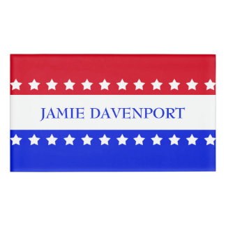 American Flag Stars Red White Blue Name Tag