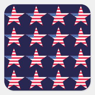 American Flag Stars Square Sticker