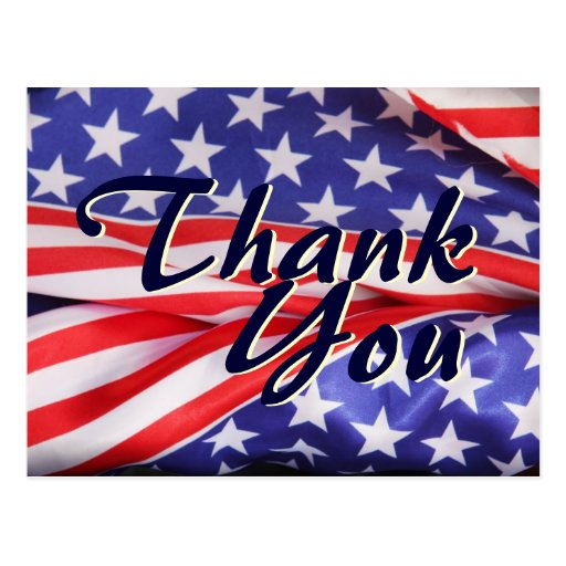 American Flag Stars Stripes Thank You Post Card Zazzle