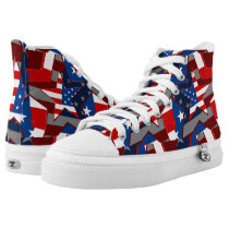 American Flag Stars Zipz High Top Adult Shoes