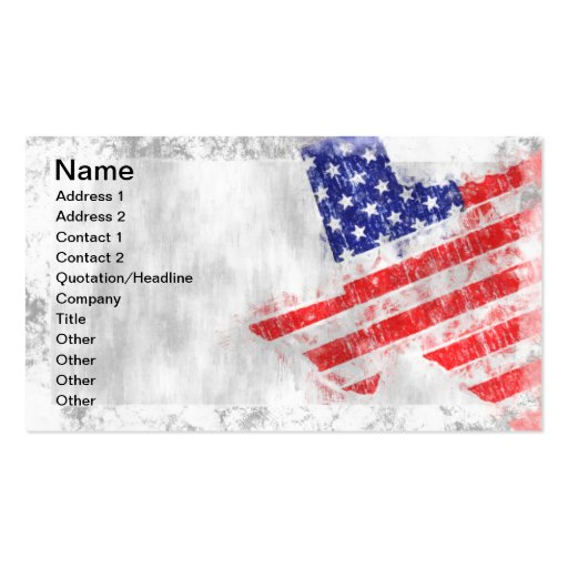 American flag state of texas double sided standard for American flag business cards