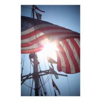 American flag stationery design