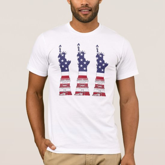 American Flag, Statue of Liberty, 4th of July T-Shirt