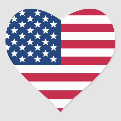 American Flag Heart Stickers