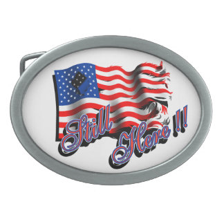 "American Flag ""Still Here"" Belt Buckles"