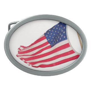 AMERICAN FLAG STILL WAVES buckle Belt Buckle