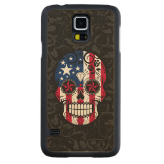 American Flag Sugar Skull with Roses Carved® Maple Galaxy S5 Slim Case