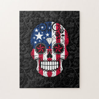 American Flag Sugar Skull with Roses Jigsaw Puzzle