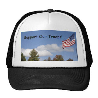 American Flag, Support Our Troops! Hats