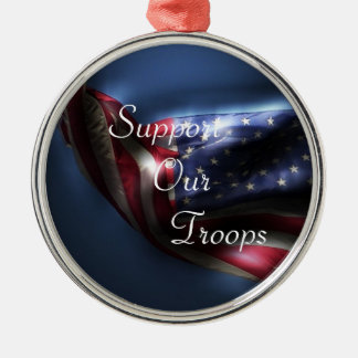 American Flag-Support Our Troops Metal Ornament