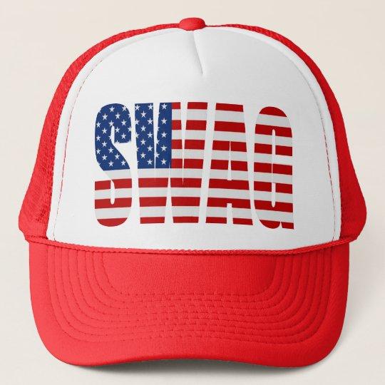 21eebd7aedd American Flag SWAG Red Mesh Snapback Trucker Hat