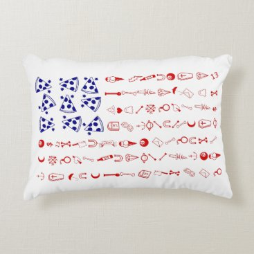 American flag tattoo funny pizza accent pillow