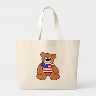 American Flag Teddy Bear Large Tote Bag