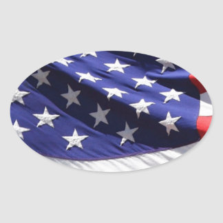 American-flag-Template Oval Sticker