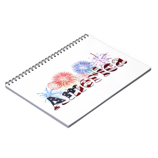 American Flag Text w/Fireworks Spiral Notebooks