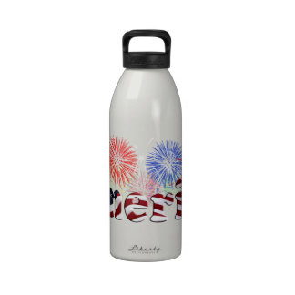 American Flag Text w Fireworks Water Bottle