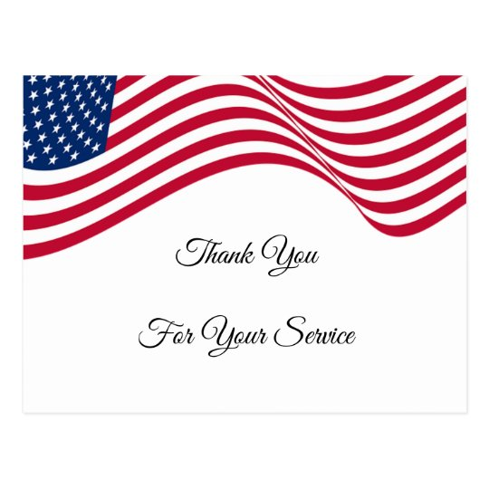 American Flag Thank You For Your Service Postcard Zazzle Com