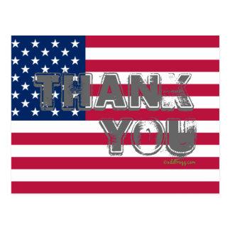 American Flag Thank You Postcard (Gray)