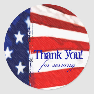 American Flag Thank You Stickers