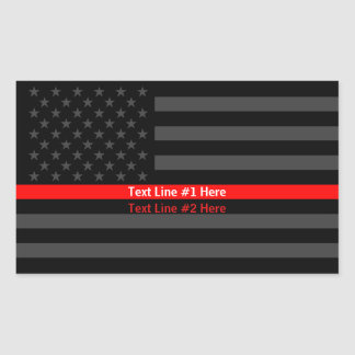 American Flag Thin Red Line Symbolic Your Text on Rectangular Sticker