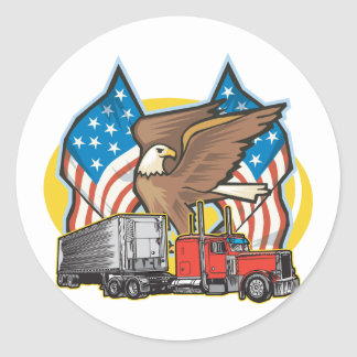 American Flag Trucker Classic Round Sticker