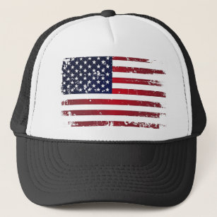 d25abd43bf4f1a Distressed American Flag Baseball & Trucker Hats | Zazzle
