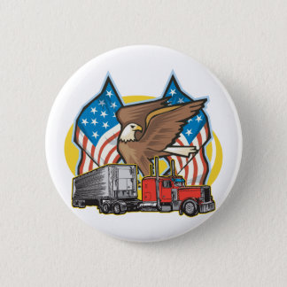 American Flag Trucker Pinback Button