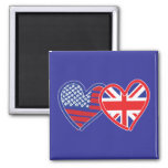 American Flag/Union Jack Flag Hearts 2 Inch Square Magnet