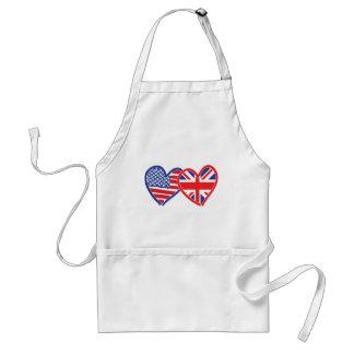 American Flag/Union Jack Flag Hearts Adult Apron