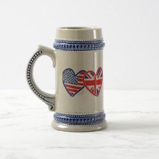 American Flag/Union Jack Flag Hearts Beer Stein