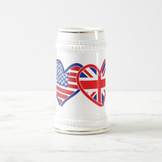 American Flag/Union Jack Flag Hearts Beer Stein