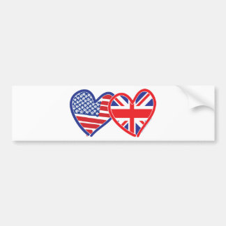 American Flag/Union Jack Flag Hearts Car Bumper Sticker