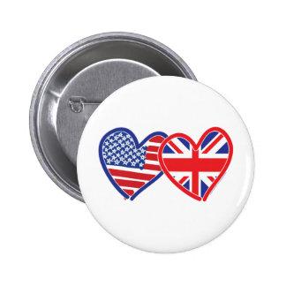 American Flag/Union Jack Flag Hearts Pinback Button
