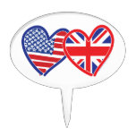 American Flag Union Jack Flag Hearts Oval Cake Picks