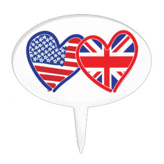 American Flag Union Jack Flag Hearts Cake Topper