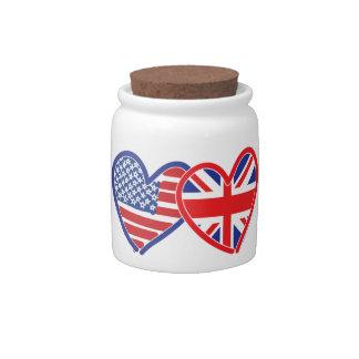American Flag Union Jack Flag Hearts Candy Jars